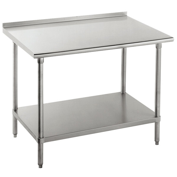 "Advance Tabco FSS-363 36"" x 36"" 14 Gauge Stainless Steel Commercial Work Table with Undershelf and 1 1/2"" Backsplash"