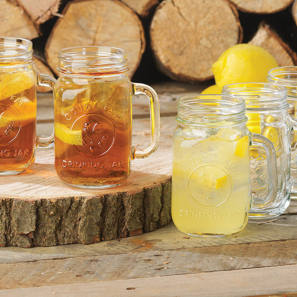 Libbey County Fair Mason Jar Drinking Glasses With Handle 16 Oz 12 Case