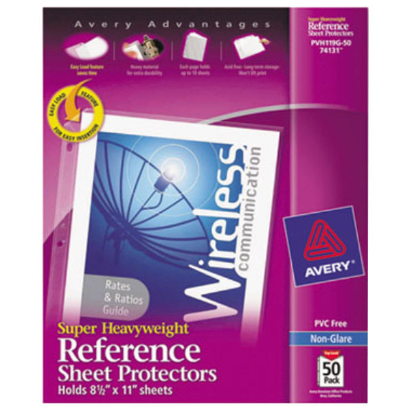"Avery 74131 8 1/2"" x 11"" Nonglare Super Heavyweight Top-Load Sheet Protector, Letter - 50/Box Main Image 1"