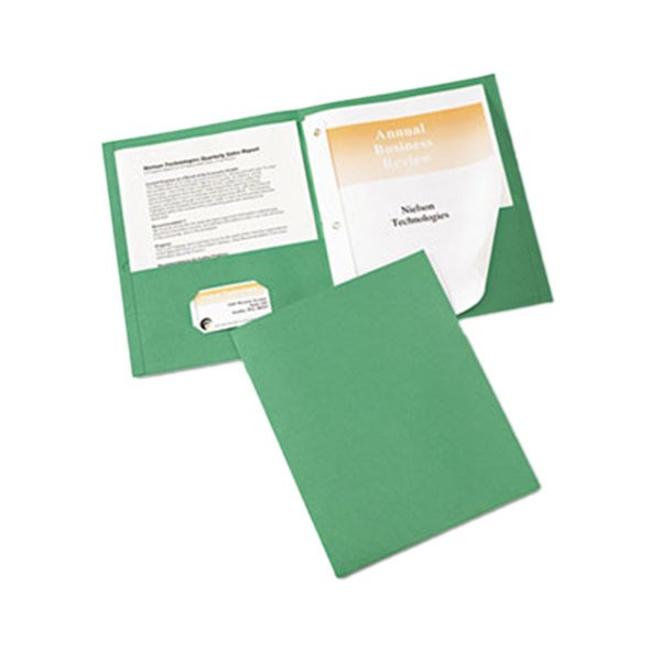 Avery 47977 Letter Size 2-Pocket Paper Folder with Prong Fasteners, Green - 25/Box Main Image 1