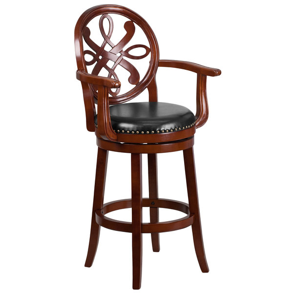 Flash Furniture TA-550230-CHY-GG Cherry Wood Bar Height Designer Back Stool with Black Leather Swivel Seat Main Image 1
