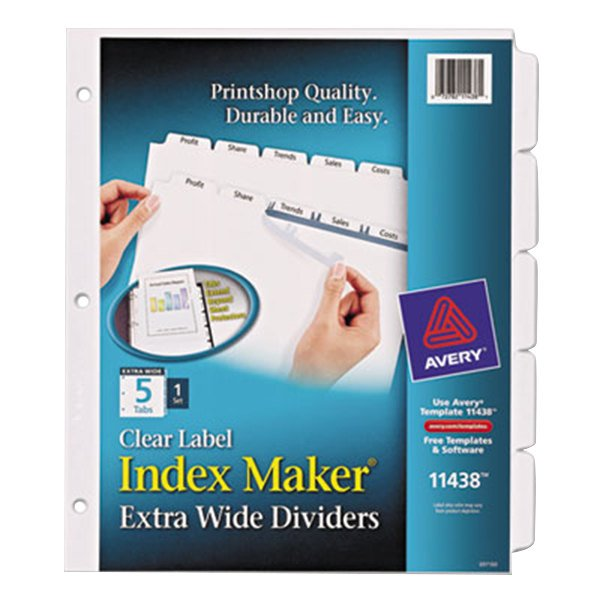 Avery 11438 Index Maker Extra Wide 5-Tab Divider Set with Clear Label Strip Main Image 1