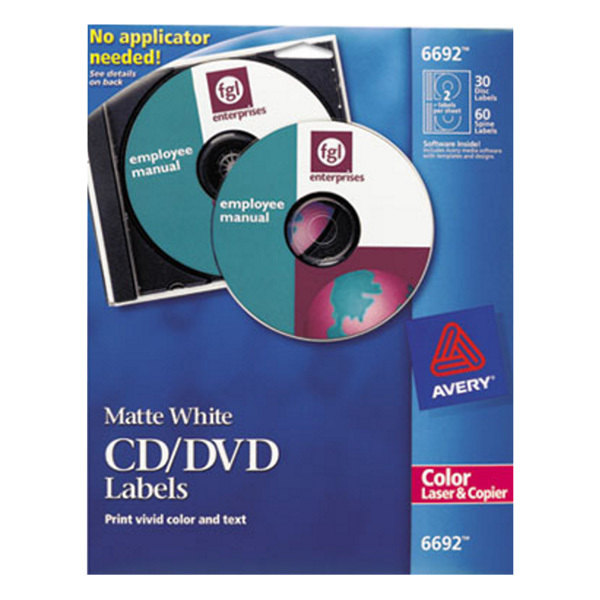 Avery 6692 Matte White CD Labels - 30/Pack Main Image 1