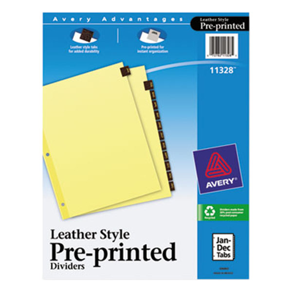 Avery 11328 Pre-Printed Red Leather 12-Tab Dividers Main Image 1