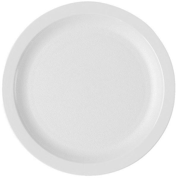 "Cambro 825CWNR148 Camwear 8 1/4"" White Polycarbonate Narrow Rim Plate - 48/Case"