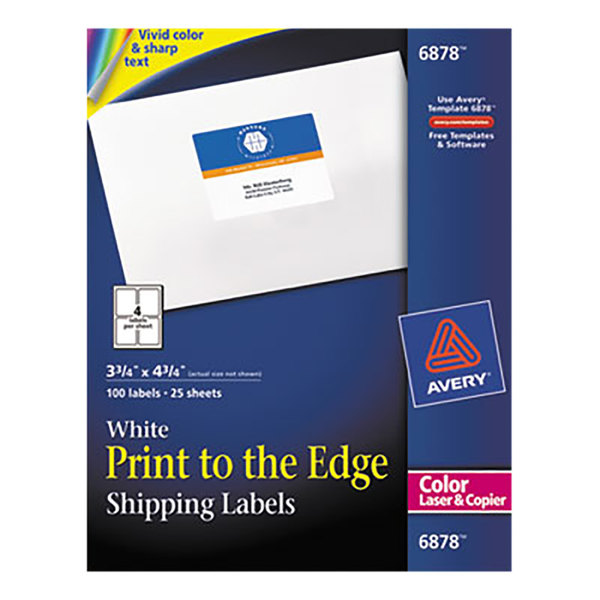 avery 6878 3 3 4 x 4 3 4 white print to the edge shipping labels