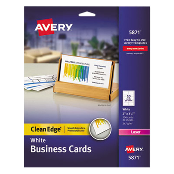 """Avery 5871 2"""" x 3 1/2"""" Uncoated White Clean Edge Business Cards - 200/Pack Main Image 1"""