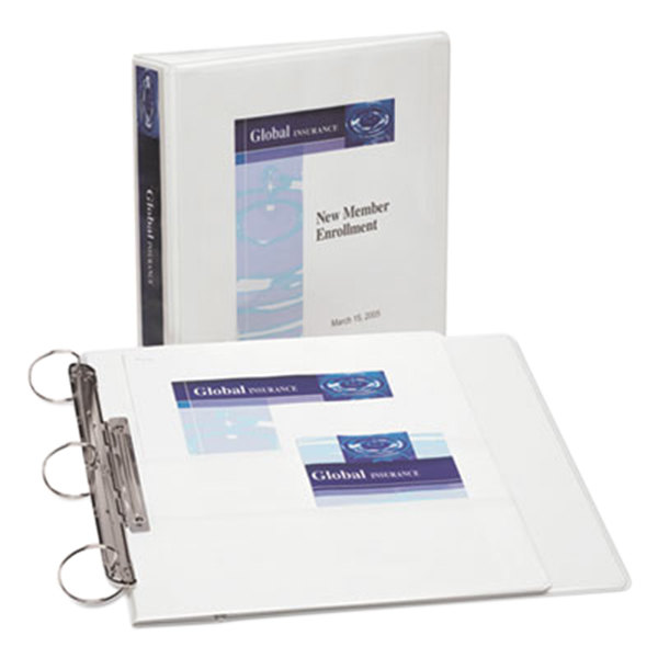 "Avery 17590 White Flip Back 360 Degree View Binder with 1 1/2"" Round Rings"