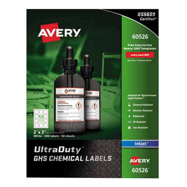 "Avery 60526 UltraDuty 2"" x 2"" GHS Chemical Labels for Pigment-Based Inkjet Printers - 600/Pack"
