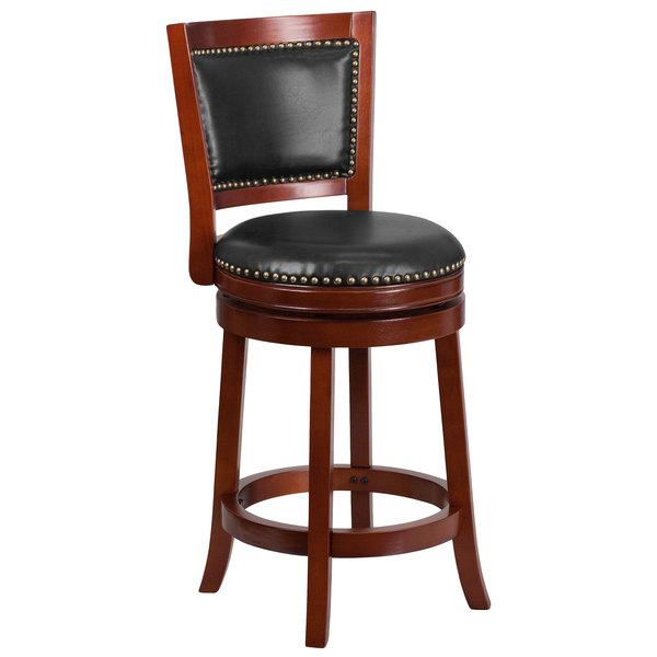 Flash Furniture TA-355526-DC-CTR-GG Dark Cherry Counter Height Panel Back Stool with Walnut Leather Swivel Seat Main Image 1