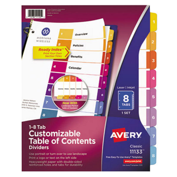 Avery 11133 Ready Index 8-Tab Multi-Color Table of Contents Dividers