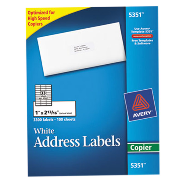 "Avery 5351 1"" x 2 13/16"" White Copier Mailing Address Labels - 3300/Box"