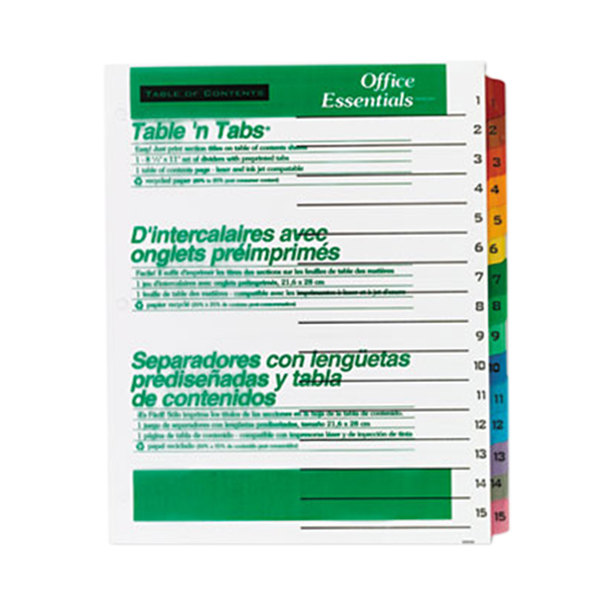 Avery Office Essentials 11675 Table 'n Tabs Multi-Color 15-Tab Dividers Main Image 1