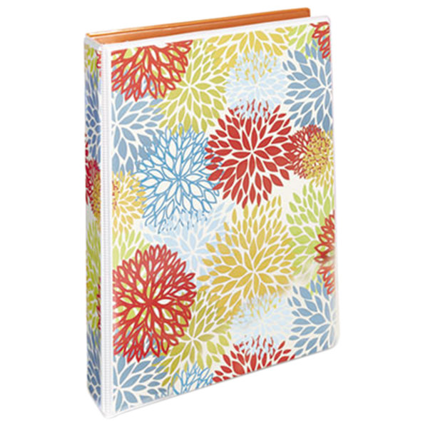 "Avery 18447 Floral/Orange Mini Durable Non-View Style Binder with 1"" Round Rings Main Image 1"