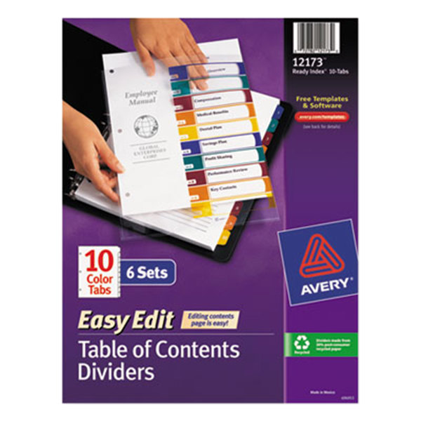 Avery 12173 Ready Index 10-Tab Multi-Color Easy Edit Table of Contents Dividers Set - 6/Pack Main Image 1
