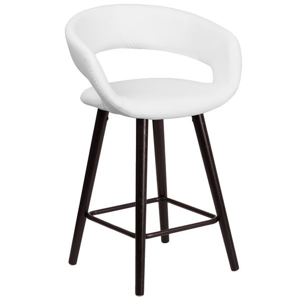 Flash Furniture CH-152561-WH-VY-GG Brynn Series Cappuccino Wood Counter Height Stool with White Vinyl Seat Main Image 1