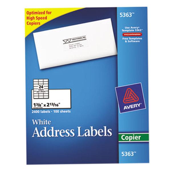"Avery 5363 1 3/8"" x 2 13/16"" White Copier Mailing Address Labels - 2400/Box Main Image 1"