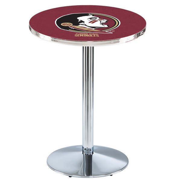 "Holland Bar Stool L214C3628FSU-HD 28"" Round Florida State University Pub Table with Chrome Round Base Main Image 1"