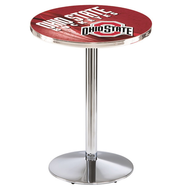 """Holland Bar Stool L214C3628OhioSt-D2 28"""" Round Ohio State University Pub Table with Chrome Round Base"""