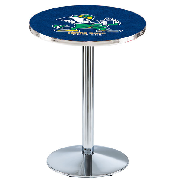 "Holland Bar Stool L214C3628ND-Lep 28"" Round Notre Dame University Pub Table with Chrome Round Base"