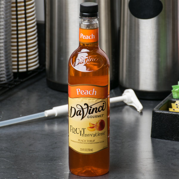 DaVinci Gourmet 750 mL Fruit Innovations Peach Cold Beverage Flavoring / Fruit Syrup