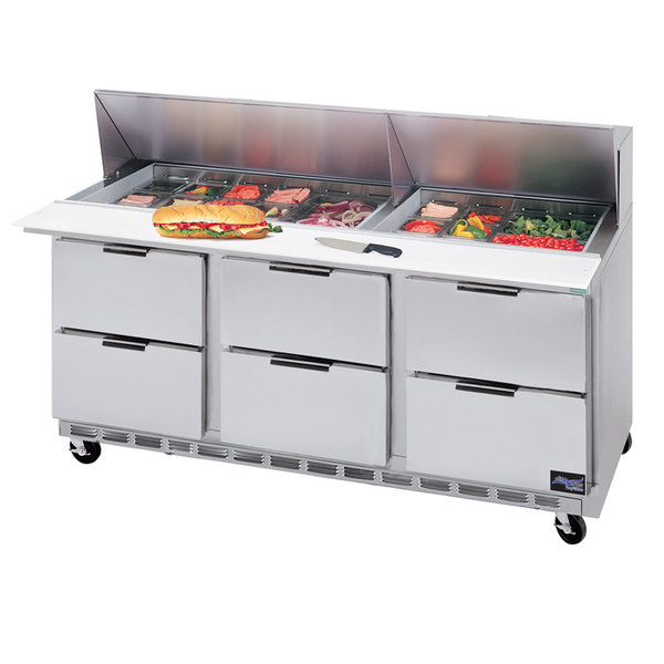 "Beverage-Air SPED72HC-18-6 Elite Series 72"" 6 Drawer Refrigerated Sandwich Prep Table"
