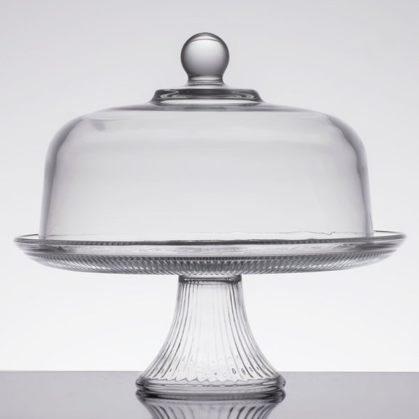 """Anchor Hocking 86475L13 Canton 12"""" Glass Cake Stand / Punch Bowl Set"""