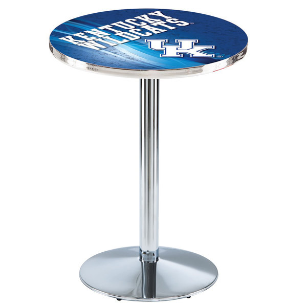 "Holland Bar Stool L214C3628UKY-UK-D2 28"" Round University of Kentucky Pub Table with Chrome Round Base"