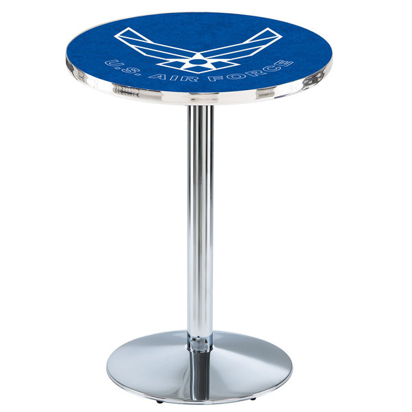 "Holland Bar Stool L214C3628AirFor 28"" Round United States Air Force Pub Table with Chrome Round Base"