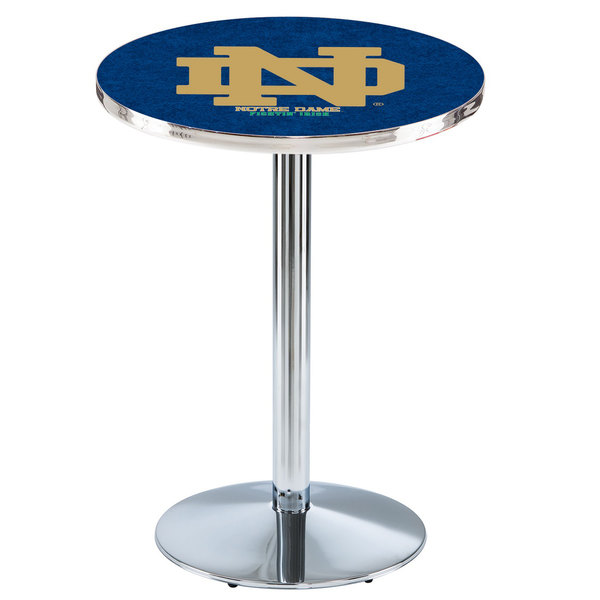 """Holland Bar Stool L214C3628ND-ND 28"""" Round Notre Dame University Pub Table with Chrome Round Base"""