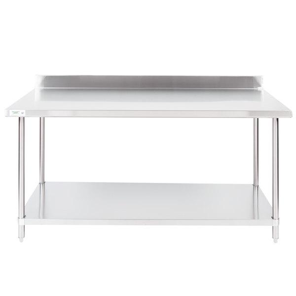 "Regency 30"" x 72"" 16-Gauge Stainless Steel Commercial Work Table with 4"" Backsplash and Undershelf"