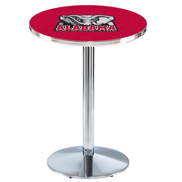 """Holland Bar Stool L214C3628AL-Ele 28"""" Round University of Alabama Pub Table with Chrome Round Base"""