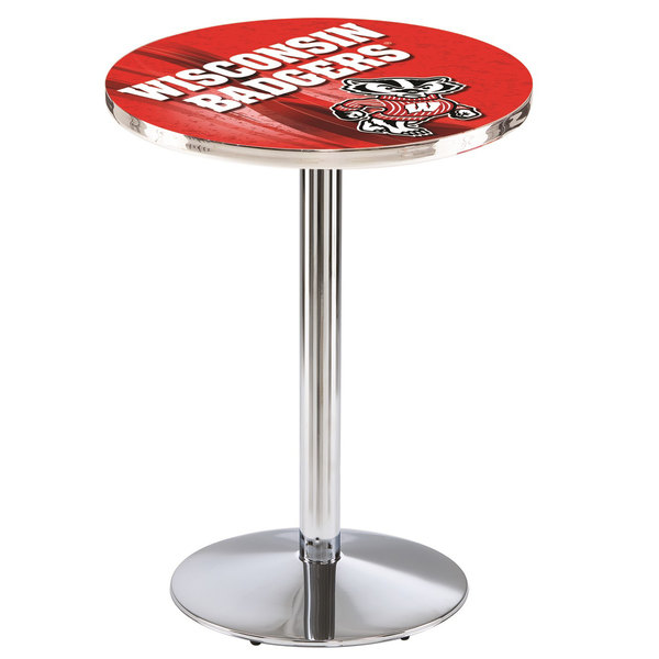 "Holland Bar Stool L214C3628WI-Bdg-D2 28"" Round University of Wisconsin Pub Table with Chrome Round Base"