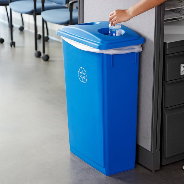 Lavex Janitorial 23 Gallon Blue Slim Rectangular Recycle Bin Main Image 2