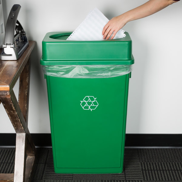 Lavex Janitorial 23 Gallon Green Slim Rectangular Recycling Can and Green Drop Shot Lid Main Image 2