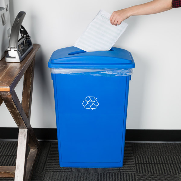 Lavex Janitorial 23 Gallon Blue Slim Rectangular Recycling Can and Blue Lid with Slot Main Image 2