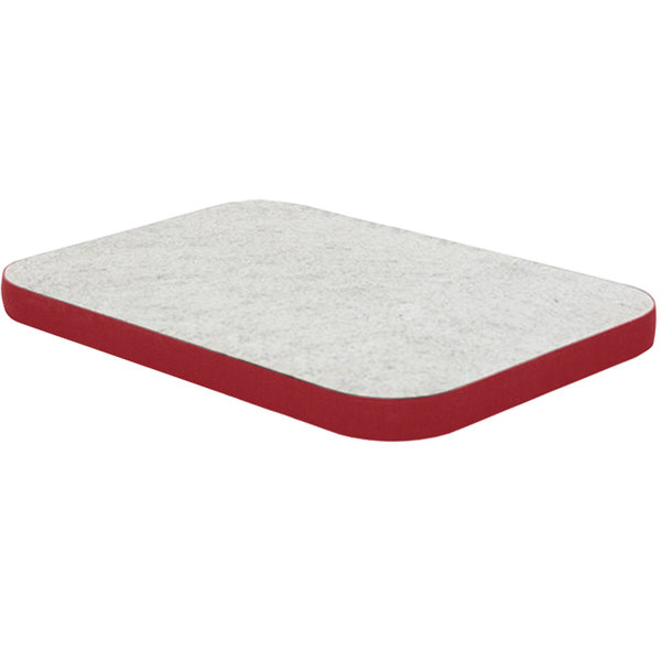 """American Table & Seating ATS2442 24"""" x 42"""" Laminated Rectangle Tabletop with Red Edge Main Image 1"""