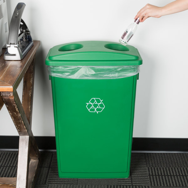Lavex Janitorial 23 Gallon Green Slim Rectangular Recycling Can and Green Lid with Holes Main Image 2