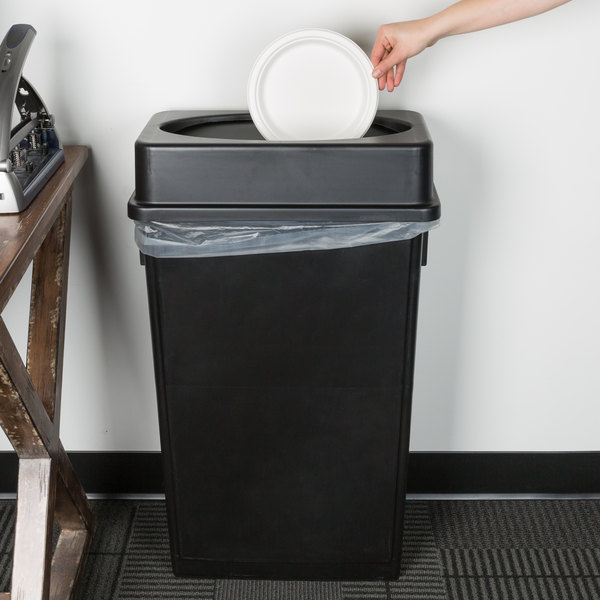 Lavex Janitorial 23 Gallon Black Slim Trash Can and Black Drop Shot Lid