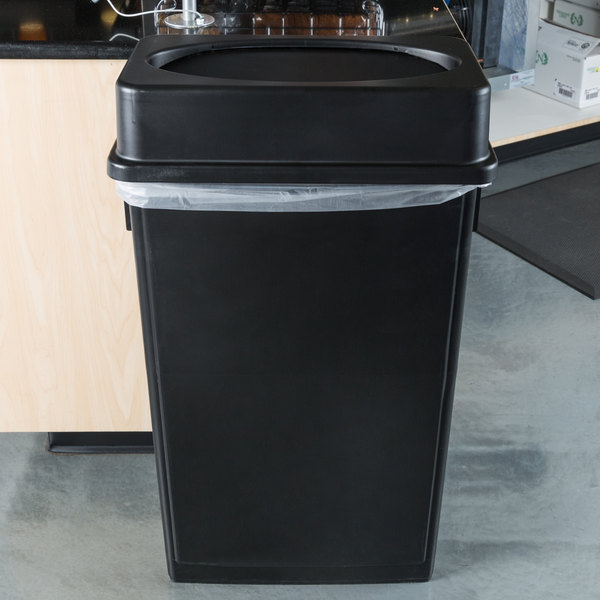 Details About 23 Gallon Heavy Duty Black Plastic Slim Restaurant Kitchen Trash Can With Lid