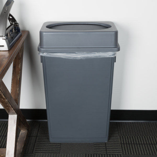 Details About 23 Gallon Heavy Duty Gray Plastic Slim Restaurant Kitchen Trash Can With Lid