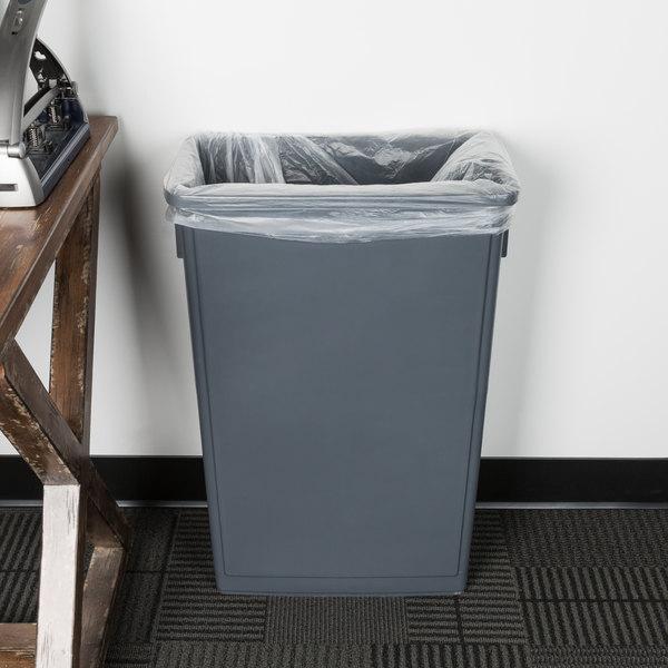 Lavex Janitorial 23 Gallon Gray Slim Trash Can Main Image 2
