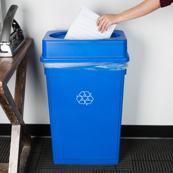 Lavex Janitorial 23 Gallon Blue Slim Rectangular Recycling Can and Blue Drop Shot Lid Main Image 2