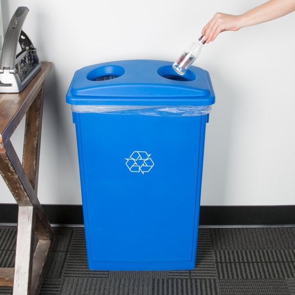 Lavex Janitorial 23 Gallon Blue Slim Rectangular Recycling Can and Blue Lid with Holes Main Image 2