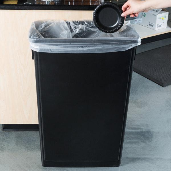 Lavex Janitorial 23 Gallon Black Slim Rectangular Trash Can Main Image 2