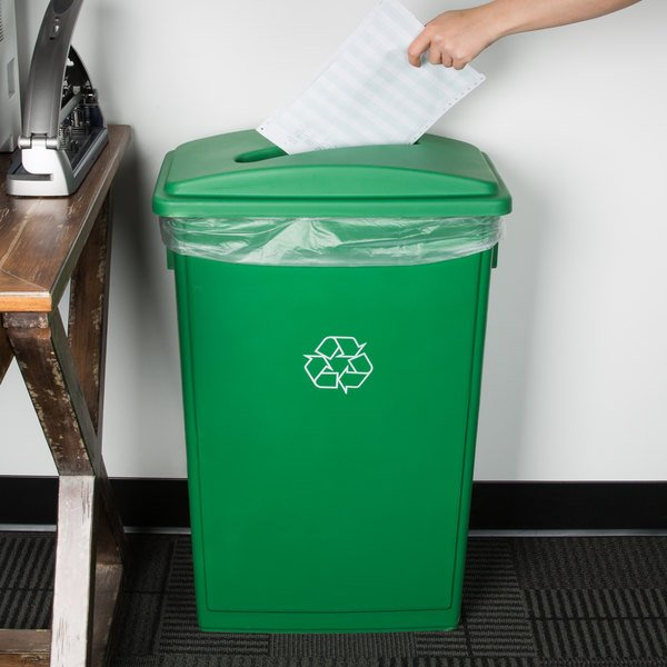 Lavex Janitorial 23 Gallon Green Slim Rectangular Recycling Can and Green Lid with Slot Main Image 2