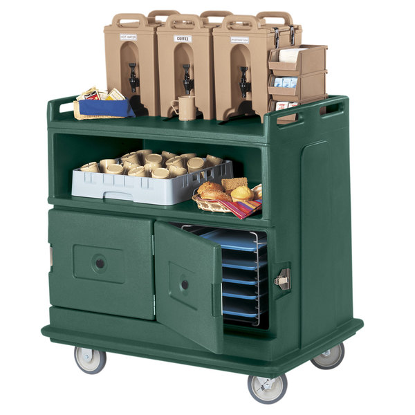 """Cambro MDC24F192 Granite Green Beverage Service Cart with 2 Doors - 44 1/2"""" x 30"""" x 44"""" Main Image 2"""