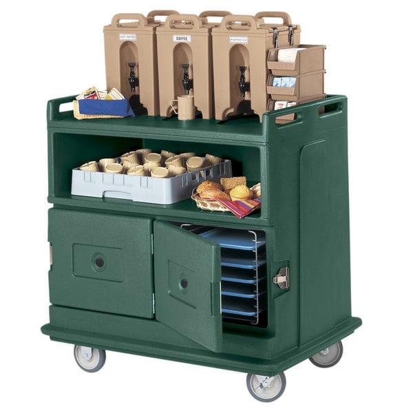 "Cambro MDC24F192 Granite Green Beverage Service Cart with 2 Doors - 44 1/2"" x 30"" x 44"""