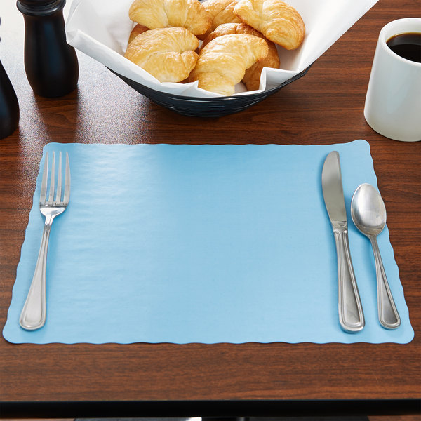 """10"""" x 14"""" Sky Blue Colored Paper Placemat with Scalloped Edge - 1000/Case"""