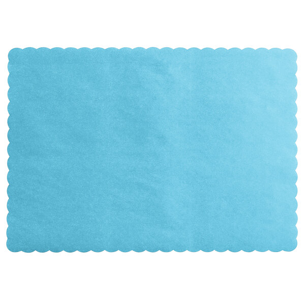 "Ship Free Sky//Light Blue 10/""x14/"" Scalloped Edge 50 Raise® Paper Placemat"
